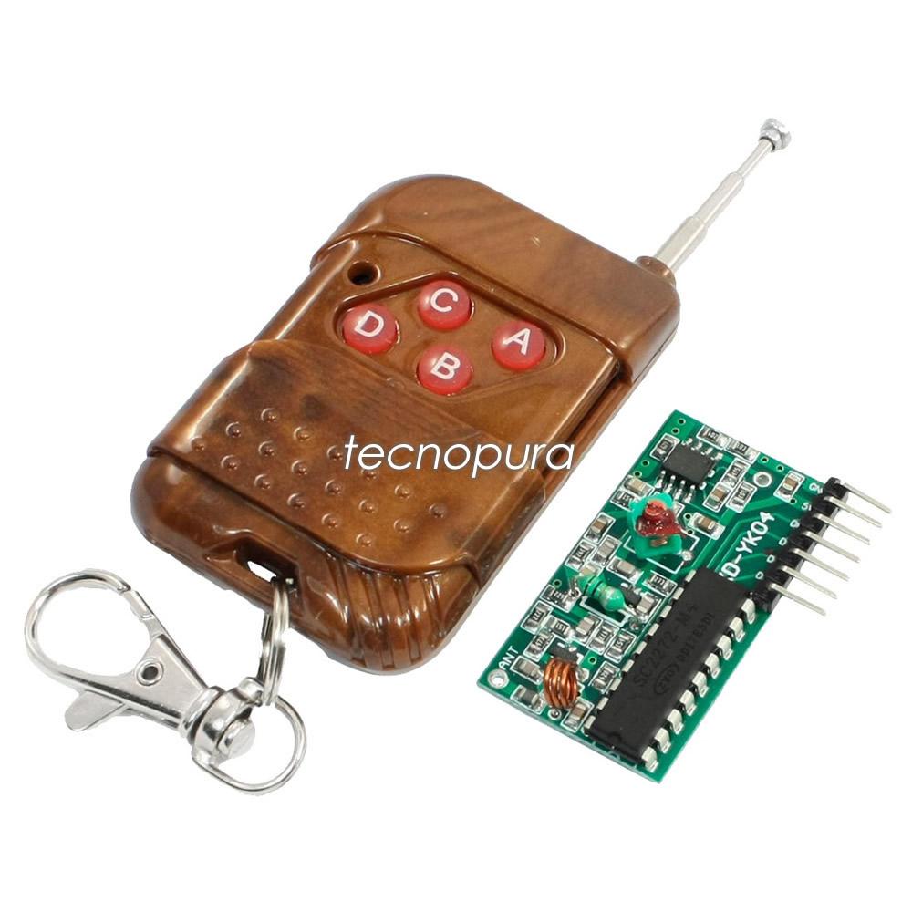 Módulo De Radiofrecuencia Rf 315 Mhz De 4 Canales Kit Control Remoto Y Receptor